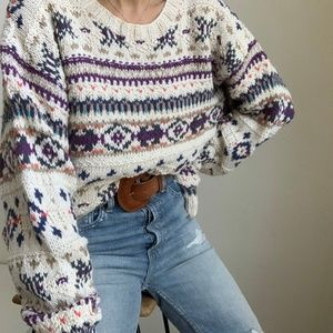 Vintage Slouchy Fair Isle Boxy Knit Pullover